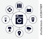 electric icons set. set of 9...   Shutterstock .eps vector #653847889