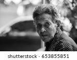 lonely senior woman  elderly... | Shutterstock . vector #653855851