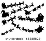 Collection silhouette  of flying Santa, vector  illustration - more available - stock vector