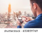 the abstract image of business... | Shutterstock . vector #653859769