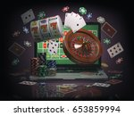 Online casino concept. Laptop with roulette, slot machine, casino chips and playing cards isolated on black background. 3d illustration - stock photo