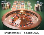 Casino roulette wheel with casino chips on green table. Gambling background. 3d illustration - stock photo