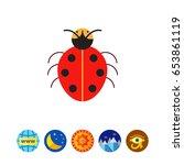 cartoon ladybird icon | Shutterstock .eps vector #653861119