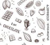 vector pattern of cocoa fruit ...   Shutterstock .eps vector #653866879