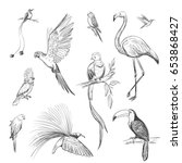 vector set of sketches of... | Shutterstock .eps vector #653868427