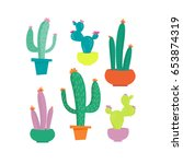 Cactus In Pot Set. Colored...