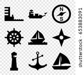 nautical icons set. set of 9... | Shutterstock .eps vector #653883091