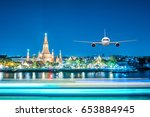 front of real plane aircraft ... | Shutterstock . vector #653884945