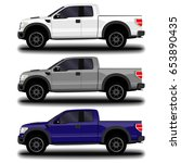 realistic car. pickup set. | Shutterstock .eps vector #653890435