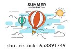 hot air balloon in the sky with ... | Shutterstock .eps vector #653891749