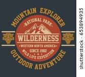 mountain explorer  wilderness ... | Shutterstock .eps vector #653894935