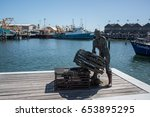 fishing boat harbour crowds and ... | Shutterstock . vector #653895295
