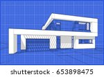 3d render sketch of modern cozy ... | Shutterstock . vector #653898475