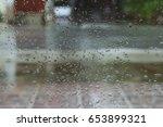 rain drops on window with... | Shutterstock . vector #653899321