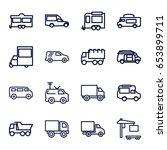 van icons set. set of 16 van... | Shutterstock .eps vector #653899711