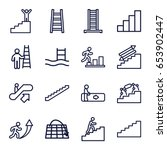staircase icons set. set of 16... | Shutterstock .eps vector #653902447