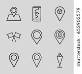 set of 9 gps outline icons such ... | Shutterstock .eps vector #653902579