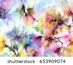 Stock photo floral background watercolor abstract flowers greeting card wedding invitation template floral 653909074