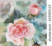 rose bouquet. watercolor... | Shutterstock . vector #653909119