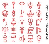 lamp icons set. set of 25 lamp... | Shutterstock .eps vector #653910661