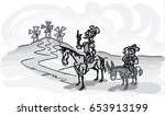 don quixote with sancho panza... | Shutterstock .eps vector #653913199