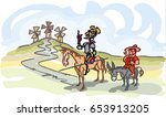 don quixote with sancho panza... | Shutterstock .eps vector #653913205