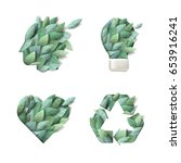 Set of nature concept icons. Vector illustration for ecology, environment, recycling, renewable energy, green technology, natural products. | Shutterstock vector #653916241