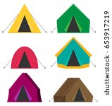 camping tent vector icons... | Shutterstock .eps vector #653917219