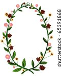Oval Frame  With Flowers And...