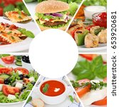 food collection collage menu...   Shutterstock . vector #653920681