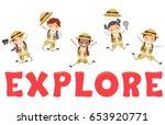 illustration of stickman kids... | Shutterstock .eps vector #653920771