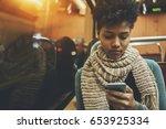 pensive afro american student... | Shutterstock . vector #653925334