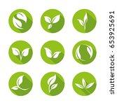 green leaves icon set   flat... | Shutterstock .eps vector #653925691