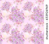 watercolor lilac flower pattern....   Shutterstock . vector #653926969
