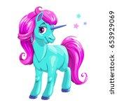 cute cartoon blue unicorn with... | Shutterstock .eps vector #653929069