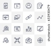 set of 16 search outline icons...