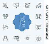set of 12 startup outline icons ... | Shutterstock .eps vector #653937199