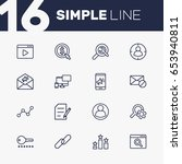 set of 16 search outline icons... | Shutterstock .eps vector #653940811