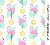 tropical trendy seamless... | Shutterstock .eps vector #653942911