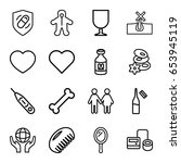 set of 16 care outline icons... | Shutterstock .eps vector #653945119