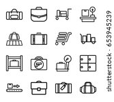 baggage icons set. set of 16... | Shutterstock .eps vector #653945239