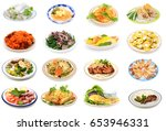 assorted vietnamese food plate... | Shutterstock . vector #653946331