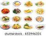 assorted vietnamese food plate... | Shutterstock . vector #653946331