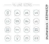 set of 16 transport outline... | Shutterstock .eps vector #653946529