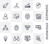 set of 16 strategy outline... | Shutterstock .eps vector #653946541