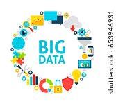 big data flat circle. set of... | Shutterstock .eps vector #653946931