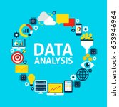 data analysis flat circle. set... | Shutterstock .eps vector #653946964