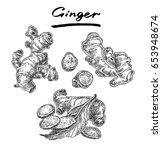 ginger set with mint leaf.... | Shutterstock .eps vector #653948674