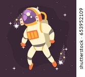 astronaut in space suit working ... | Shutterstock .eps vector #653952109