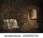 the empty tomb   oil painting... | Shutterstock . vector #653952721